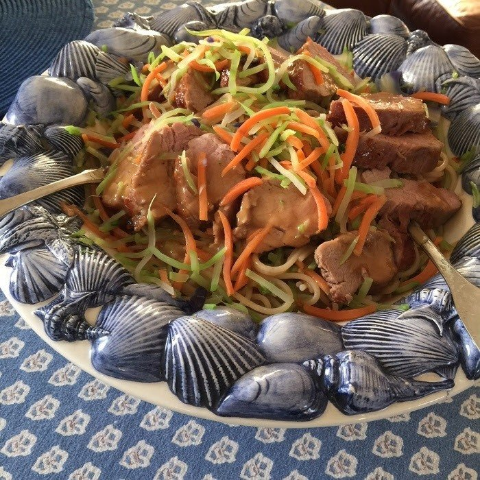 Pork, Noodles, and Broccoli Slaw
