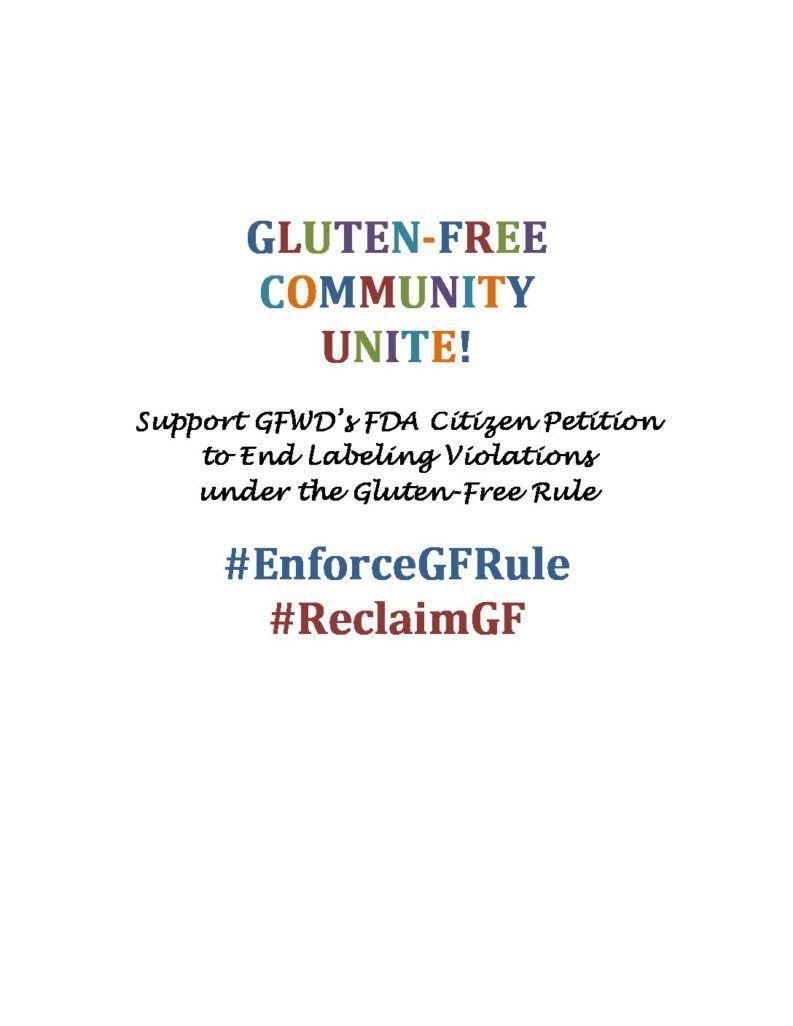 Support Gluten Free Watchdog's FDA Citizen Petition